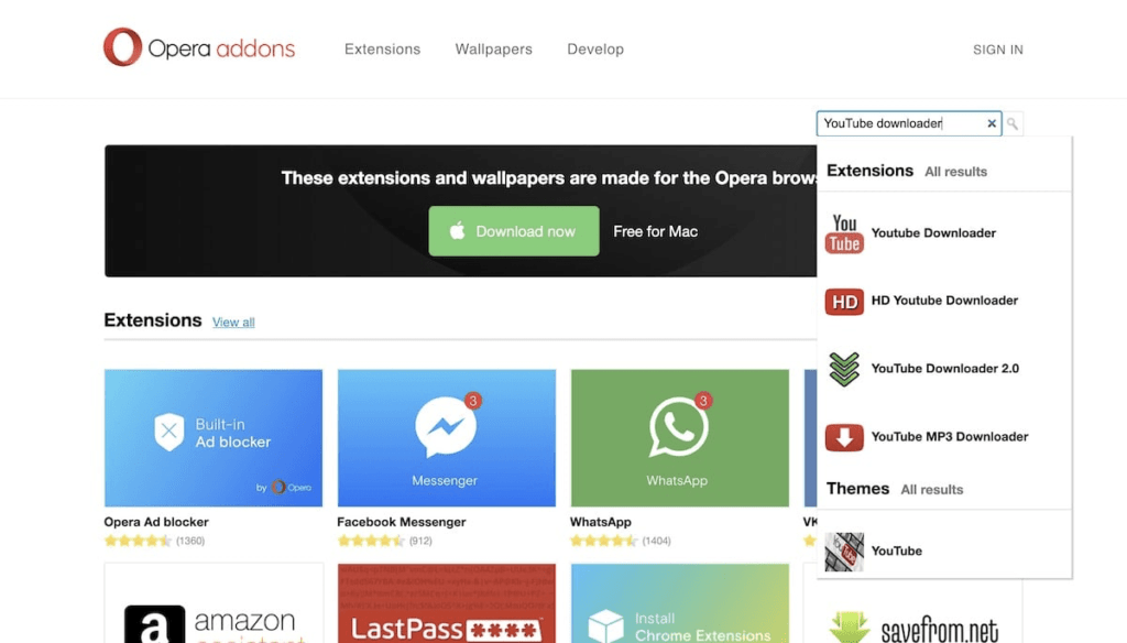 Opera Addons - One Way to Download YouTube Videos Without Software