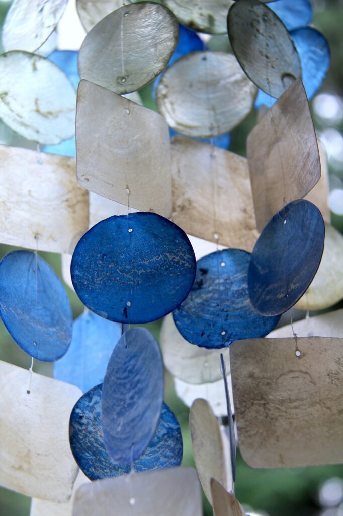 wind chime, blue, transparent