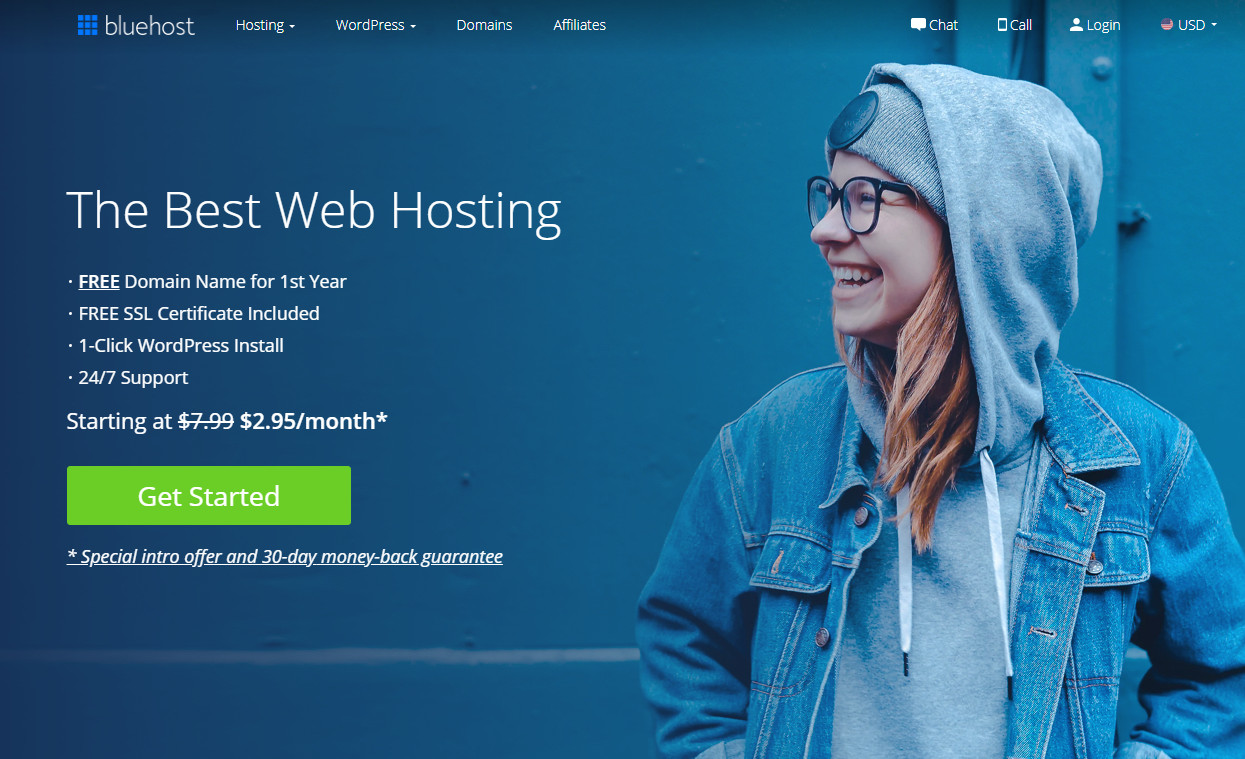 Bluehost a blogging platform to start a blog