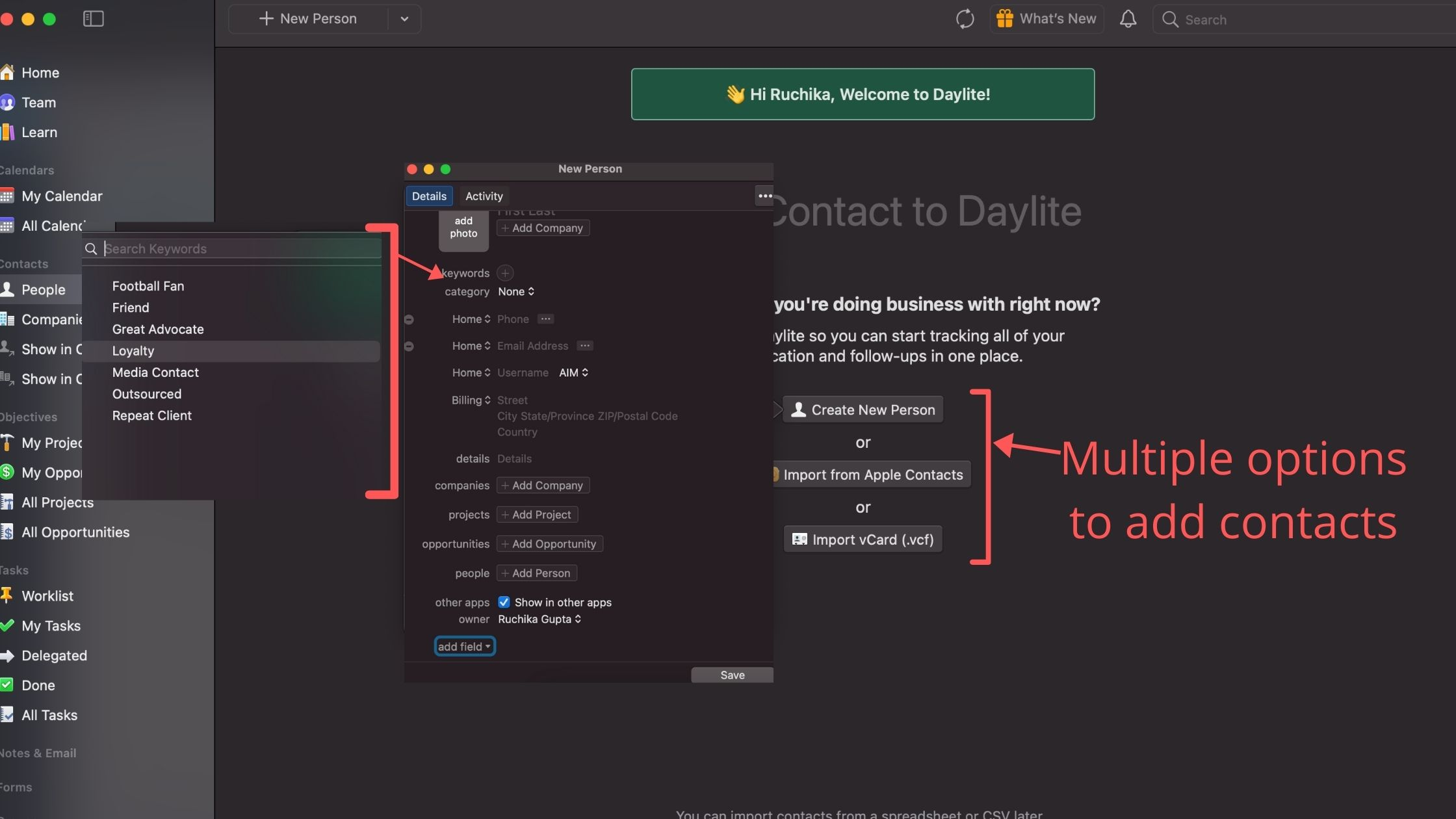 daylite crm contact