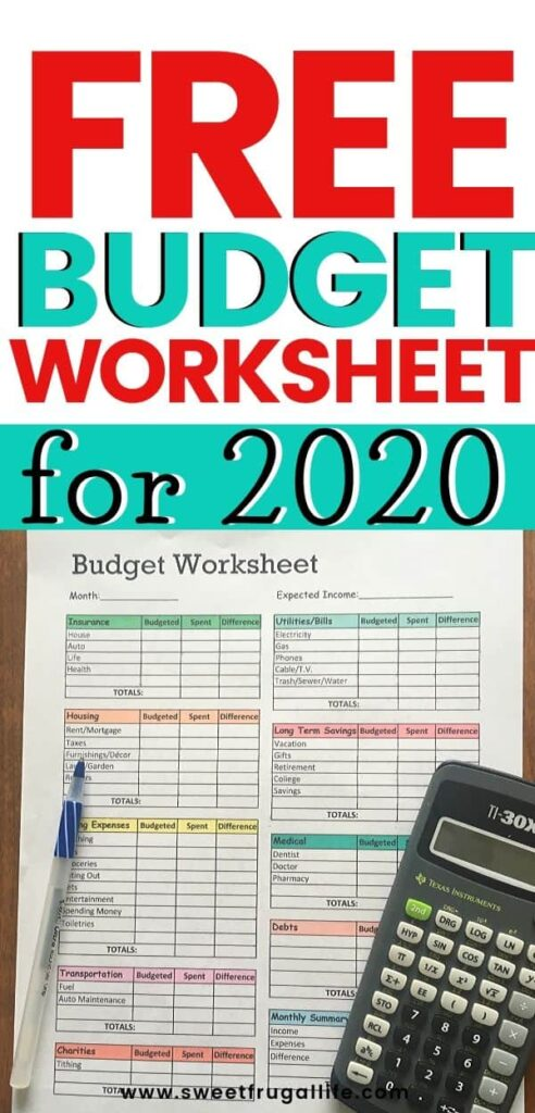 Free Budget Worksheets by Sweet Frugal Life