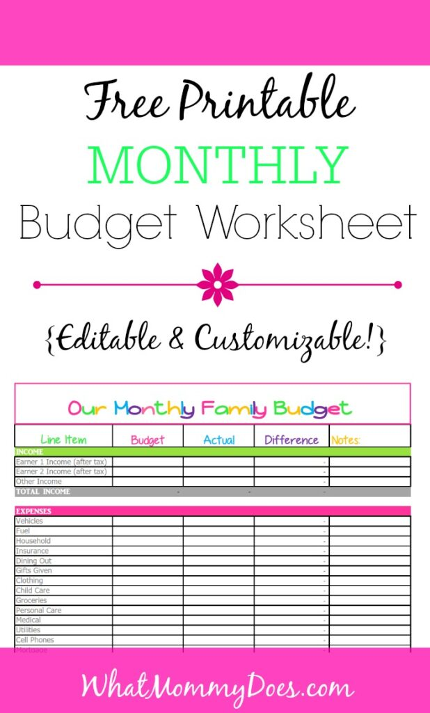 Free Printable and Customizable Monthly Budget Template