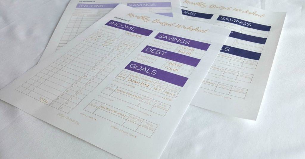 Simple Monthly Budget PrintableTemplate
